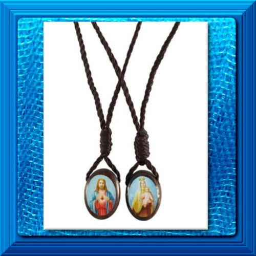 Catholic OVAL WOOD SCAPULAR Jesus and Virgin of Mount Carmel Brown New Item!