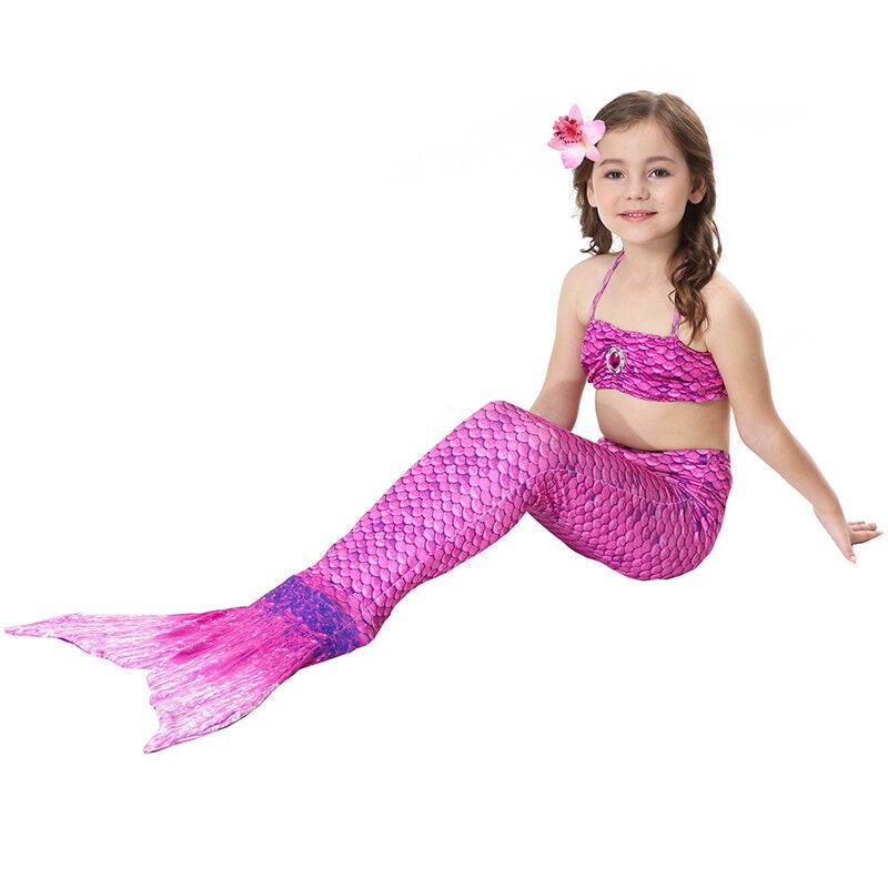Kinder Meerjungfrau Kostüm Mädchen Bademode Badeanzug Cosplay Sommer Bikini Set Lila