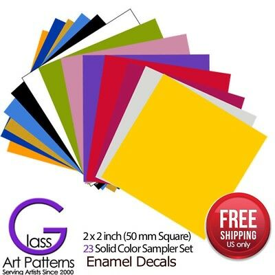 23 Colors Sample Set: Enamel Decals for Fused Glass or Ceramics Waterslide 2 x - Fusing Enamel