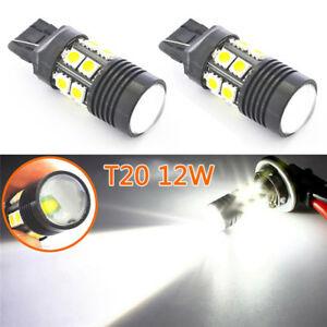 2X White T20 7443 12W Cree Q5 Projector 12SMD 7440 LED Reverse Brake Tail Light