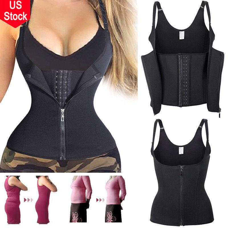 Zipper Sweat Sauna Body Shaper Women Slimming Vest Thermo Ne