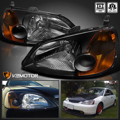 - For 2001-2003 Honda Civic 2/4Dr Coupe Sedan Headlights JDM Black Left+Right