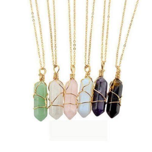 Charm Gemstones Natural Crystal Quartz Healing Point Chakra Stone Necklace Gift