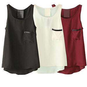 Loose-Cool-Womens-Pocket-Sleeveless-Tank-Vest-T-Shirt-Tops-Chiffon-Blouse-XS-XXL