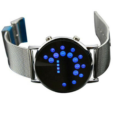 LED Round Mirror Blue Circles MAN Watches Stylish band Stainless Steel Man Watch