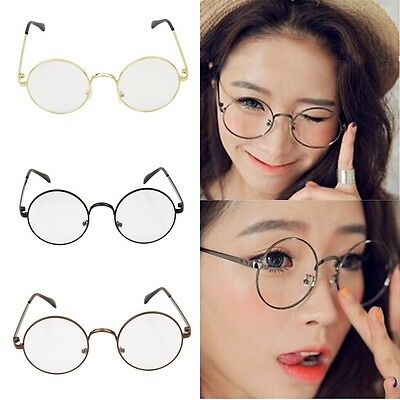 15fe6e47c7a50 Retro Vintage Round Circle Frame Clear Lens Eyeglasses Eye Glasses ...