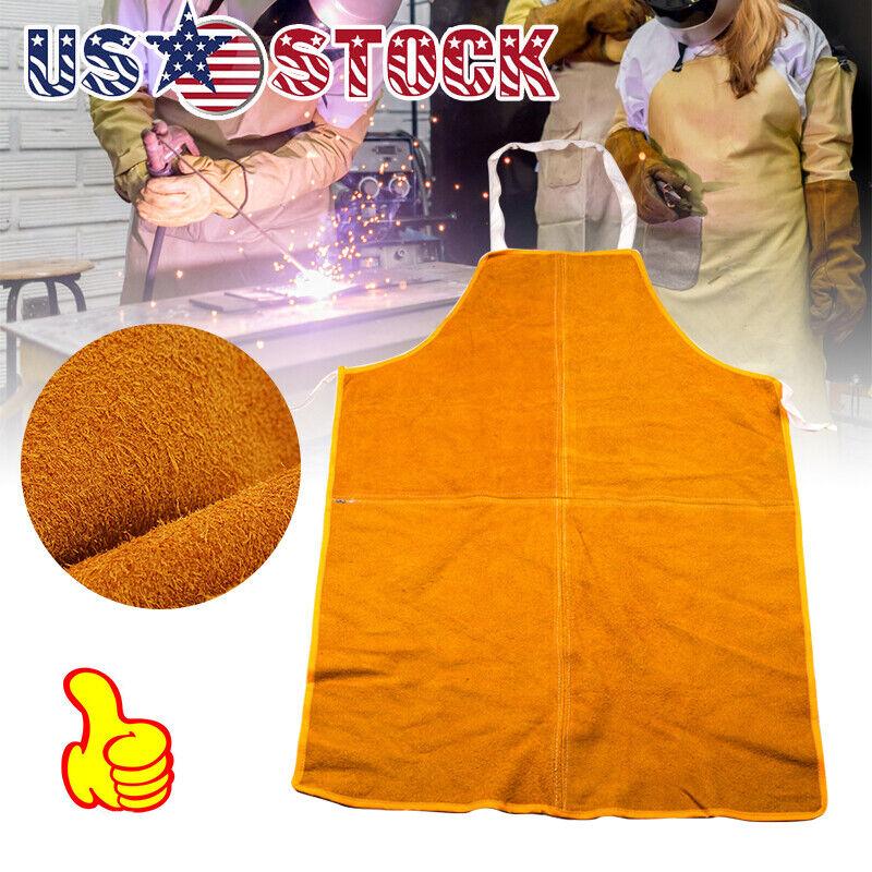 "28"" x 40 Big Leather Welding Apron Heat Resistant work safety insulated bib OZ"