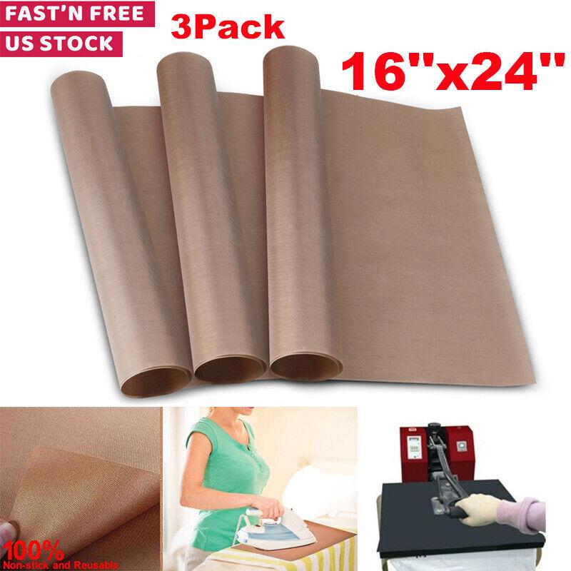3 Pack Teflon Transfer Sheets for Heat Press Non Stick Reusable Craft Paper Mat