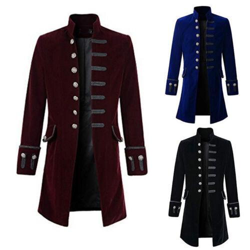 Retro Herren Steampunk Frack Jacke Gothic Viktorianischen Mäntel Tailcoat 3Farbe