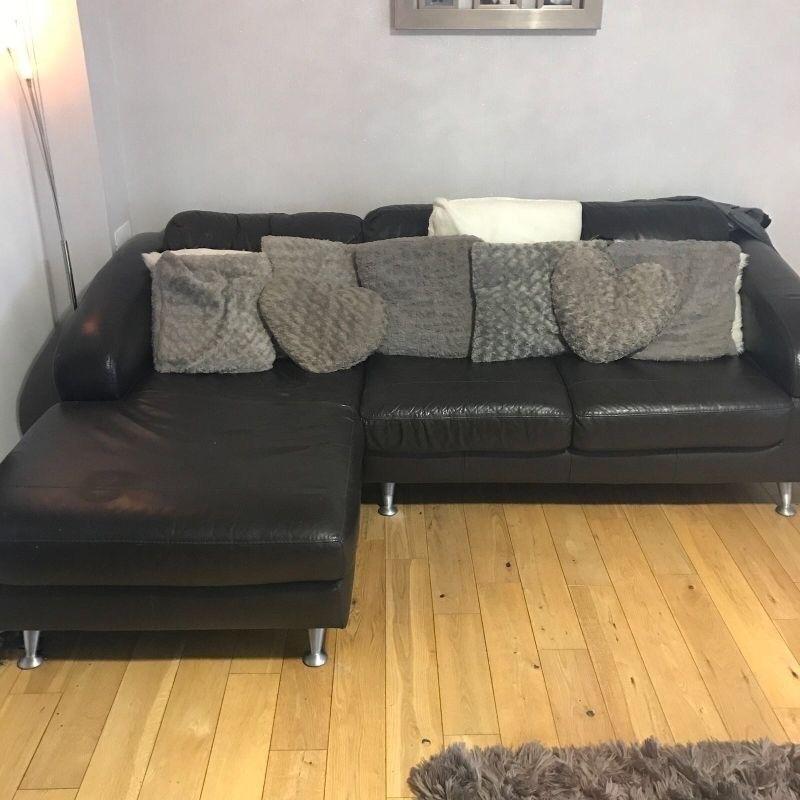 Brown Italian leather sofa for sale