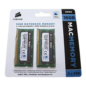 Corsair 16GB Kit 2x8GB DDR3 1333MHZ 204p SODIMM Apple Mac Mini iMac Macbook Pro