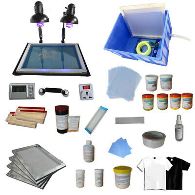 Screen Printing Machine & Materials Kit 4 Color Press Silk Screen Supply DIY Ink
