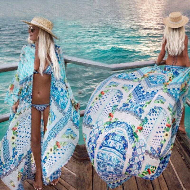 Damen Langarm Bikini Cover Up Boho Bademode Badeanzug Bademantel Sommer Kaftan