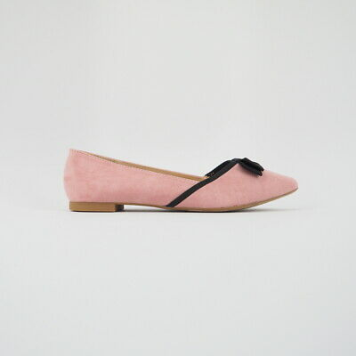 Women's Pointed Toe Suede Ballet Flats Grosgrain Bow Accent Sz 5.5-10 (Blush)