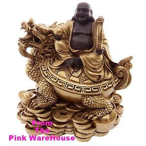 AA Lucky Gold Chinese Buddha & Dragon Ornament Statue good luck wealth happiness