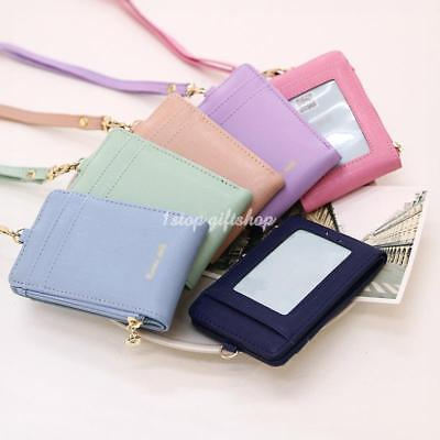 - Lanyard ID Holder Wallet Badge Neck Strap Leather Pass Credit Card Business
