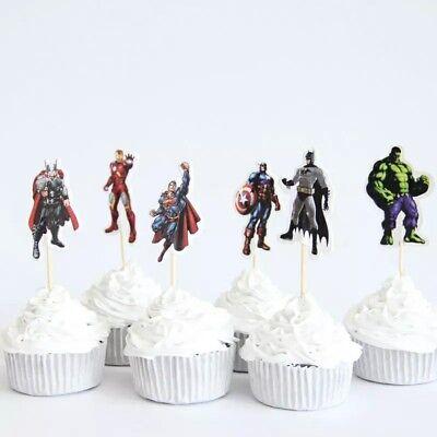 Avengers Cupcake Toppers / Picks X 24 Decorating Cup Cake Party Kids Hulk Batman