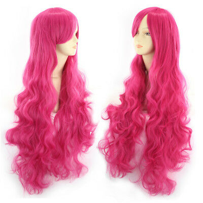 My Little Pony Pinkie Pie Wigs Magenta Curly Wavy Wave Long Cosplay Wig +Wig Cap - Pinkie Pie Wig