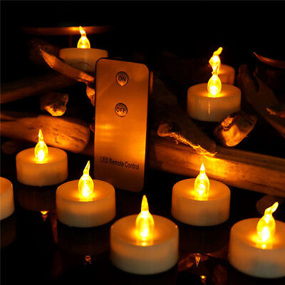 Remote Control Candle Flicker Yellow LED Tea Lights Flameless Party Decor Safe