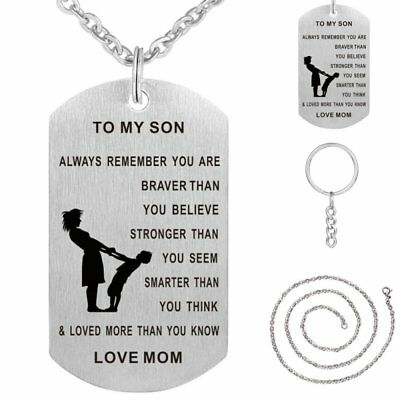 To My Son Mom Engrave Stainless Steel Pendant Necklace Keychain Family Gift