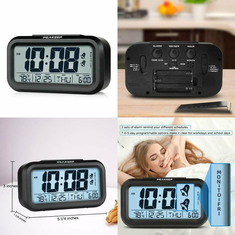 Programmable Dual Alarm Clock Cordless Digital Calendar Temp