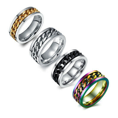 Silver/Black/Gold/Rainbow Spinner Chain Rings Stainless Steel Men's Band Sz 6-15