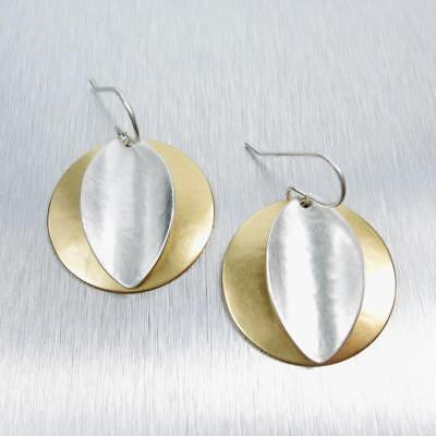 Marjorie Baer Gold Silver Two Tone Convex Disc wth Concave Leaf Wire Earrings