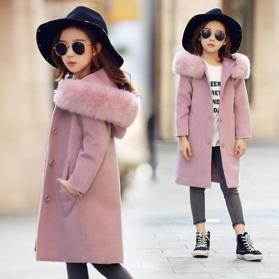 New Kids Girls Pea coat Jacket Fur Hooded Double Breasted Parka Pink Wool @BT