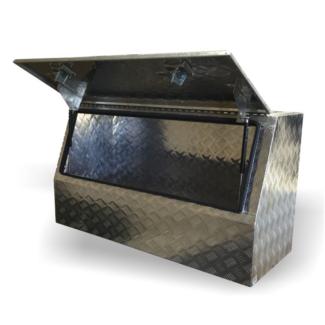 Aluminium Checker Plate High Side Opening Tool Box 90x50x60 cm