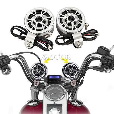 2 X 12V Handlebar Mount Mini Speakers For Amp Amplifier Car Motorcycle Radio Mp3