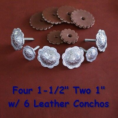 Set of Jeremiah Watt Saddle Trim Conchos - Wood Screw Back w/ 6 Leather Conchos