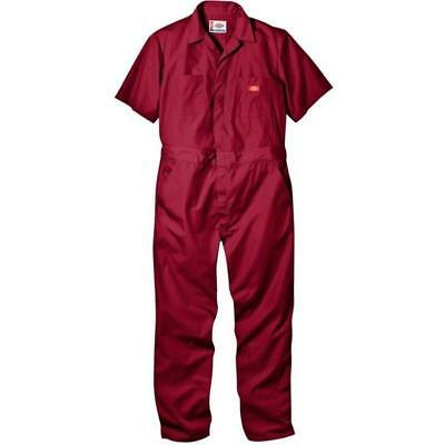 Industrial Work Gear Men's Short Sleeve Coveralls, Cotton Blend, Red