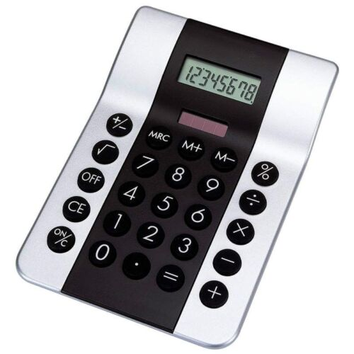 Dual Powered Small DESK 8 Digit CALCULATOR Silver Color Solar Electronic Calc