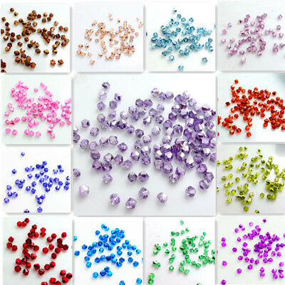 Half Plated Bicone Faceted Crystal Glass Loose Spacer Beads  DIY3mm 4mm 6mm (Crystal Glass Plates)