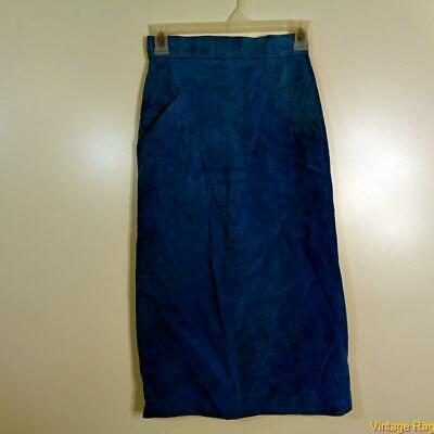 L'AGGRESSE Vtg Sexy Soft Suede Leather Skirt Size 3/4 Aquamarine Blue