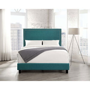 Emery Contemporary Upholstered Platform Bed - Queen - Teal