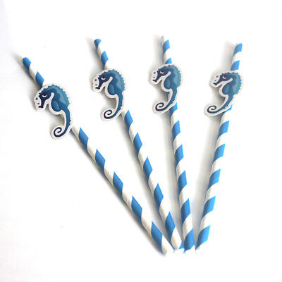 10pcs/pack Mermaids Straw Paper Birthday Party Festive Tropic Decoration Animal