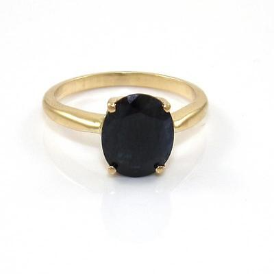 Solid 14K Yellow Gold Blue Sapphire Ring Size 6.25 GTA1