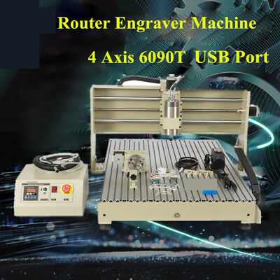 Usb 6090 Router 4 Axis Metal Engraver Engravering Mill Machine 1500w Vfd Spindle