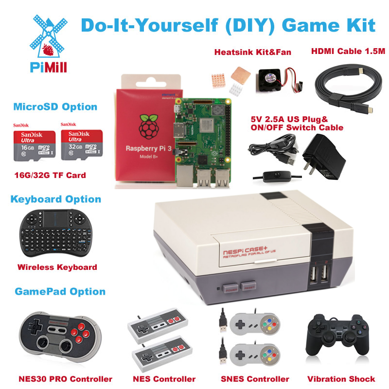 2018 Raspberry Pi 3 B+ (B plus) GAME Kit Retroflag NESPi Case+ Safe Shutdown Lot