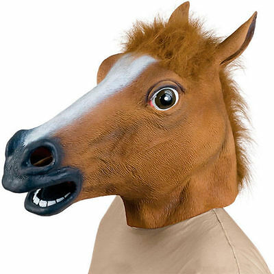 Latex Rubber Horse Head Mask Halloween Fancy Dress Christmas Party Adult Costume