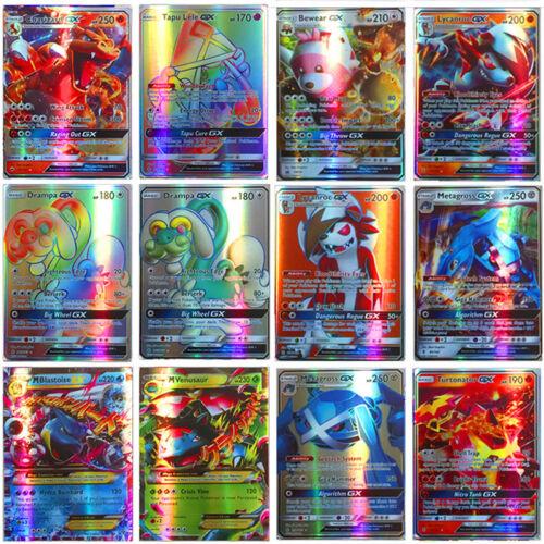 100-120Pcs GX + MEGA Mixed Pokemon Cards Holo Flash