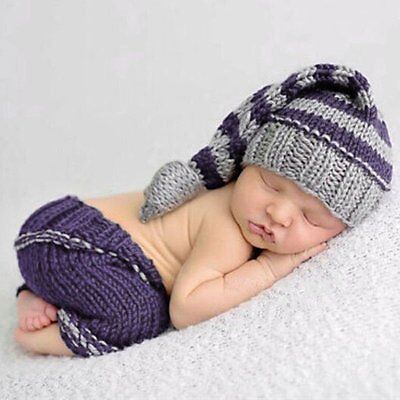Newborn Baby Prop Outfits Boy Girls Crochet Knit Costume Photo Photography Set ()