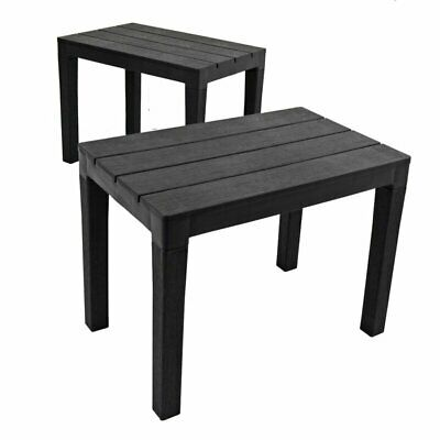Ipae-Progarden Outdoor Garden Timor Bench Set of 2, Anthracite 60 x 38.5 x 45 cm