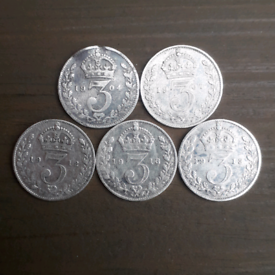 £2.50 each - STERLING SILVER (pre-1920) 3d threepence coins