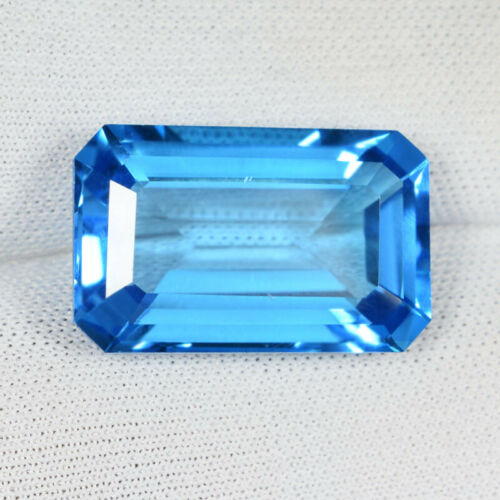 15.70 ct SIZZLING HOT LUSTROUS AAA SWISS BLUE NATURAL TOPAZ Octagon See Vdo 9517