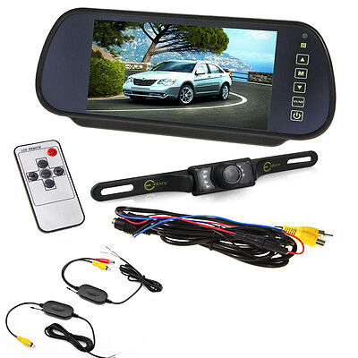 "7"" LCD Mirror Monitor+Wireless Car Rear View Backup Camera Combo Night Vision"