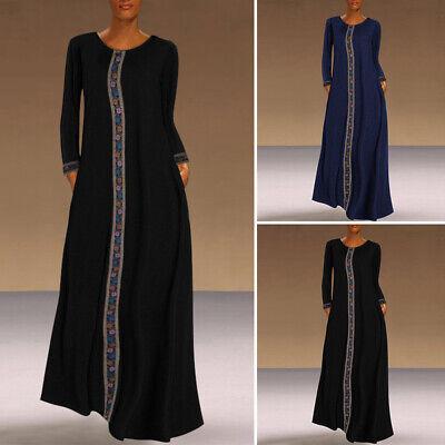 Women Long Sleeve Loose Long Dress Printed Floral Ethnic Muslim Kaftan Abaya