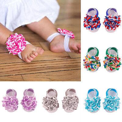 Baby Infant Barefoot Toddler Foot Flower Band Newborn Girls Sandals Floor Socks (Barefoot Sock Sandals Baby)