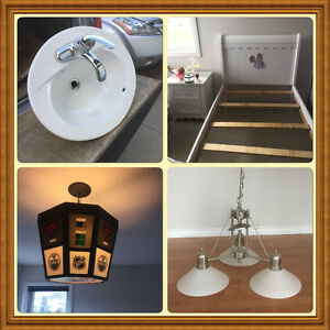 Bath sink and faucet, Beds, light and chandelier, kitchen Faucet